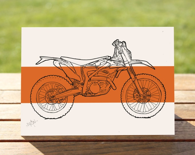 "KTM Dirt Bike Motorcycle Gift Card, Coloublock Design | A6 - 6"" x 4""  / 103mm x 147mm  