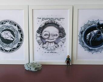 Star Wars mandala set, prints of my original drawings. Maz Kanata, K2SO, Millennium Falcon, zendoodle typography quote art.