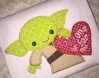 Yoda applique valentine tee shirt, kids yoda valentine shirt, yoda valentine applique shirt, valentine applique shirt