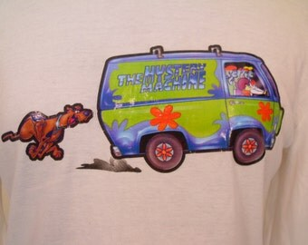 90's Scooby Doo T-Shirt/White Cotton/Long Sleeve Shirt/Mystery Machine/Vintage T-Shirt/Women's Tshirt/1990's