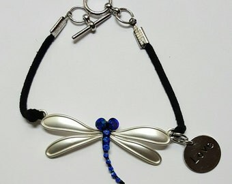 Dragonfly Bracelet. Faux Leather Dragonfly Bracelet. Bead Dragonfly Bracelet. Insect Jewelry.