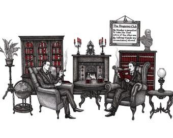 Sherlock & Watson - 'The Diogenes Club' A3 Print