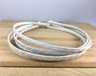 Ivory Satin Wrapped Metal Headband, Ivory 5mm headband, ivory headband, ivory 5mm metal headband, DIY Hard Headband