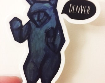 Denver Blue Bear Sticker