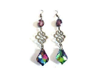 Earrings vintage, crystal glass and bronze