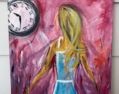 Alice in Wonderland running with time painting