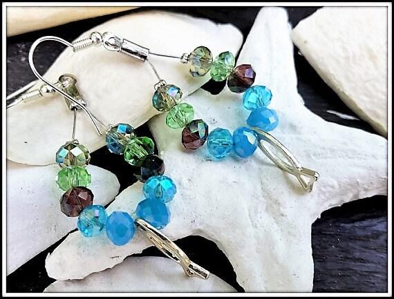 Blue drop earrings, Multicolored Earrings, Large Dangle Earrings, Long Womens Earrings, Blue Beach Earrings, Green Blue chandelier earrings