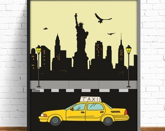 new york city, new york print, taxi print, taxi new york, black print, cities print, modernist print, nursery decor, 4 SIZES INCLUDED