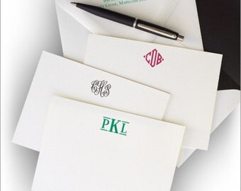 Letterpress Cards with 100% Cotton Paper - Letterpress Cards with Monogram - 9583M