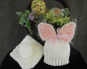 Crochet,Bunny Set, White,Babies,Easter,Baby Shower Gift, Newborn Photo Prop,Diaper Cover,Costumes,Baby Girls,Accessory,Spring,Summer