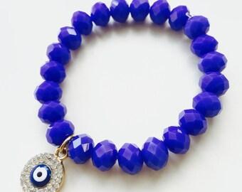 Evil eye bracelet,Royal Blue Glass Bead Bracelet,childrens bracelet,gold diamonte evil eye,protection jewellery,bridesmaid gift,layered