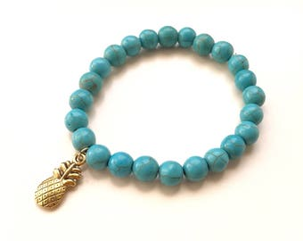 Pineapple fruit turquoise howlite gemstone bracelet silver gold charm on trend womens jewelry summer accessories