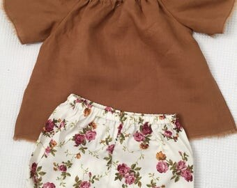 Vintage linen peasant top and bloomer set