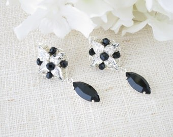 Swarovski black crystal drop earring, Crystal post bridal earring, Black wedding earring