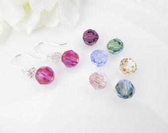 Bridesmaid earring, Swarovski crystal wedding earring, Simple crystal bridal earring