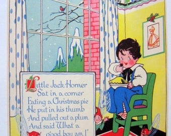 LITTLE JACK HORNER Nursery Rhyme Illustration by Anne Rochester | copyright by F. R. London, England | Christmas Plum Pie