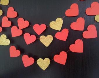 VALENTINE Paper Hearts Garland - Valentine's Day, Wedding, Engagement, Party, Shower, Room decoration