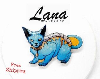 Lying Cat brooch FREE SHIPPING Lying Cat, Animal brooch, Lying Cat  jewelry, Saga Comic jewelry, Lying Cat clay, Lying Cat pin.