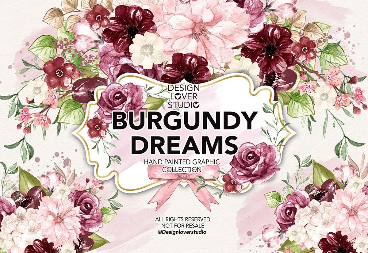 Watercolor BURGUNDY DREAMS design, spring watercolor ...