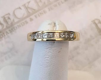 Ladies Vintage 14k yellow gold 4mm wide 9 Princess Cut Diamond Channel Set Wedding Band .50 tw, IJ-I1, size 6.25