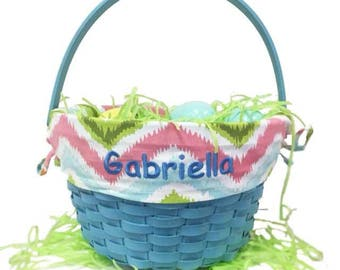 Baby easter basket etsy personalized blue chevron pattern easter basket negle Images
