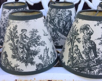 Vintage FRENCH COUNTRY TOILE Chandelier Lampshades Set of 8 Shabby French Prairie Cottage Farmhouse Chic