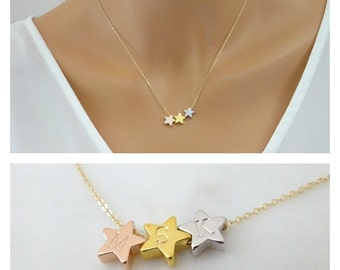 Triple Star necklace, graduation gift, Bridesmaid gift, Personalized Gift for Mom, Bridal party jewelry gift, Children star Necklace,
