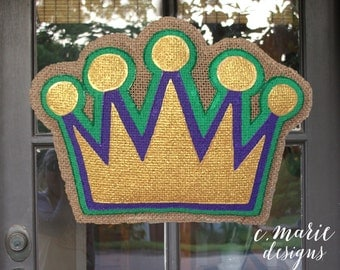 Mardi Gras Crown Burlap Door Hanger