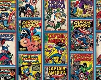 SALE Marvel Captain America Comic Strip by Camelot 19161317  / Yardage and  Fat Quarters - Camelot Fabrics 13020306