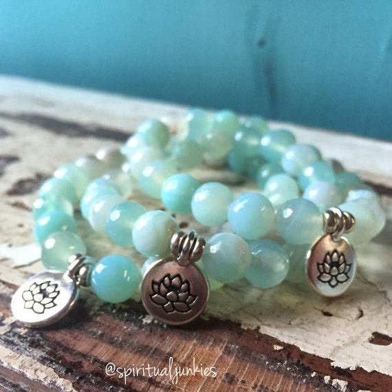 Stackable Faceted Aqua Striped Agate + Lotus Spiritual Junkies Yoga and Meditation Bracelet