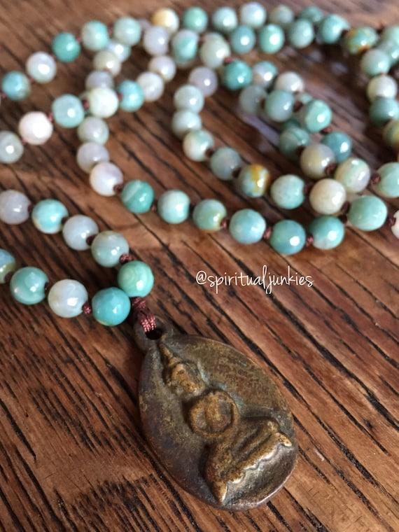 108 Bead Handknotted Faceted Teal Agate + Thai Buddha Spiritual Junkies Yoga and Meditation Mini Mala