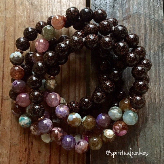 Stackable Mala Inspired Faceted Cracked Agate + Red Lotus Seed Beads Spiritual Junkies Yoga and Meditation Bracelet (1 bracelet)