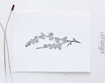 Spring Cherry Branch Art Print * Flower Plant Botanical Wall Art * Blooms Mother's day Gift * Wedding  Favor * Minimalist design Home decor