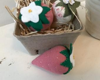 Basket of 3 pink wool strawberry pincushions