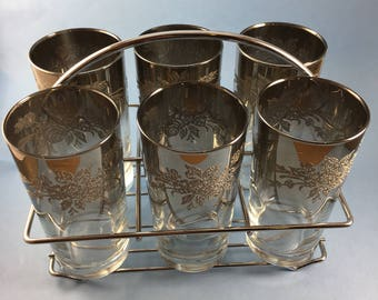Set of 6 silver fade tumblers with caddy