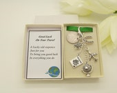 Good luck on your travels.Personalised  lucky sixpence keyring gift. emigrating new life abroad gap year holiday travelling.