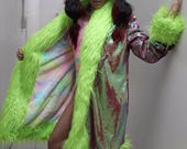 Penny Lane/Acid Queen sequin faux fur coat with cuddle fur lining- secret pockets