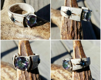 Antler ring 10mm Mystic Topaz set in Sterling silver with Swarovski Crystal accents and pyrography compass. Hunting jewelry
