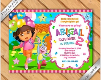 50% OFF SALE - Dora the Explorer Invitation - Birthday Party Dora the explorer Invite - Printable