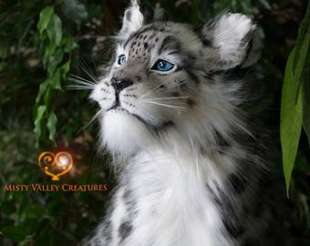 Lifesize Large Posable Young Snow Leopard Cat Art Doll Plush Poseable-Ready to ship!