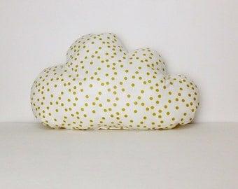 Cloud pillow, Gold dots nursery pillow, baby pillow, nursery decoration, crib pillow, baby gift, crib bedding.
