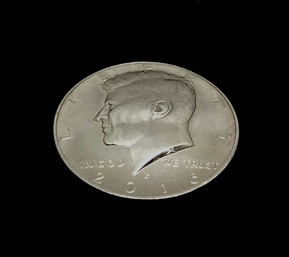 JFK Half Dollar Magnet - Hand Crafted from a genuine 2016 US Kennedy Half Dollar Coin (free shipping)