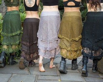 Wendy Long Lace Layered, Festival, Goa Skirt, Gypsy Wrap, Free size, Adjustable in Black