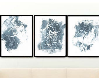 Set of 3 Prints, Triptych, Navy Blue Abstract, Abstract Art Prints, Printable Art, Home Decor, Wall Decor, Wall Art, Instant Download