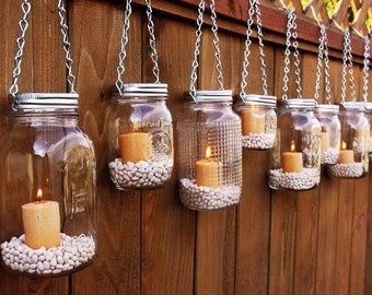 Mason Jar Lanterns Hanging Tea Light Luminaries - Set of 10 - Includes Candles and Jar Filler