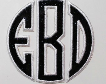 Glitter Iron On Monogram Circle Applique Letters/Monogram Patch/CUSTOM COLORS/Backpack Patch/Glitter Patch/Personalized Patch/Embroidered