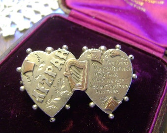 ANTIQUE VICTORIAN SILVER and Gold Mizpah Hearts & Harp Brooch - 1898 - Irish Theme!!