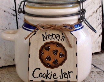 Personalized Cookie Jar Tag, Custom Jar Label, Rustic Hand Painted Tag, Primitive Kitchen Decor