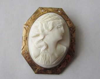 Vintage Carved Cameo Brooch Pin White Portrait Pin