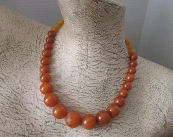 Vintage Bakelite Butterscotch Bead Necklace 40's Two Tone
